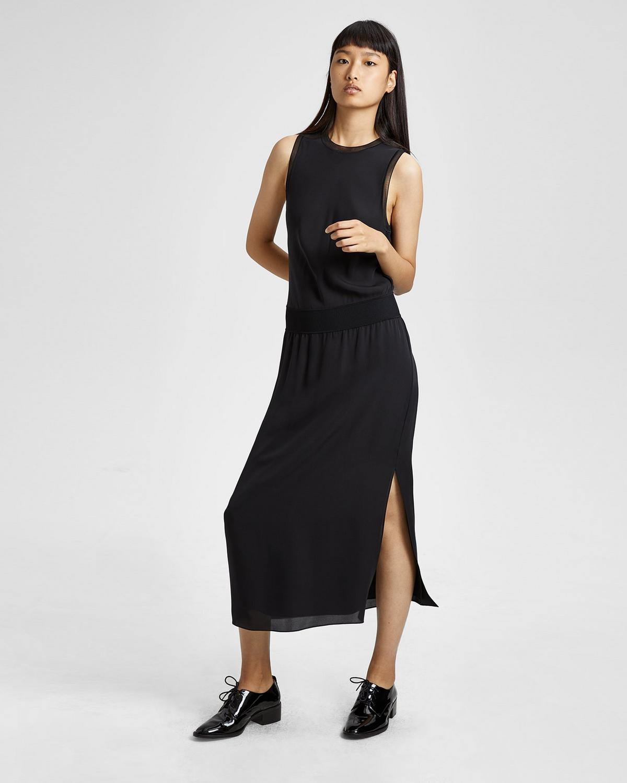 Silk Combo Midi Dress
