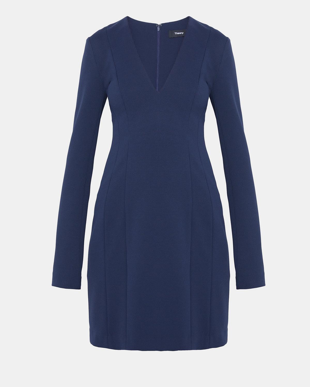 Technical Knit V Neck Mini Dress by Theory