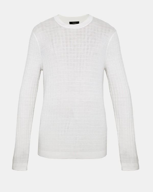 띠어리 맨 울 크루넥 스웨터 화이트 Theory Wool Crewneck Sweater,WHITE