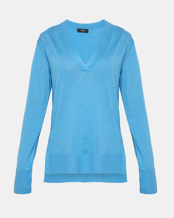 띠어리 Theory Silk Blend V-Neck Sweater,BERMUDA BLUE