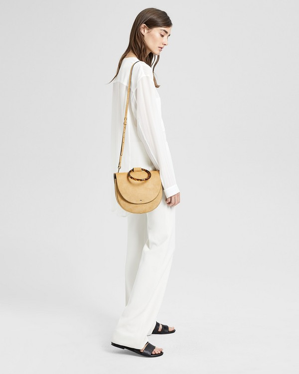 띠어리 Theory Large Whitney Bag With Resin Hoop in Suede,TAN