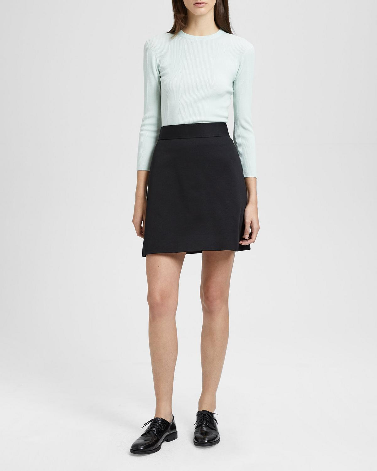 Cotton Piqué High Waisted Mini Skirt by Theory