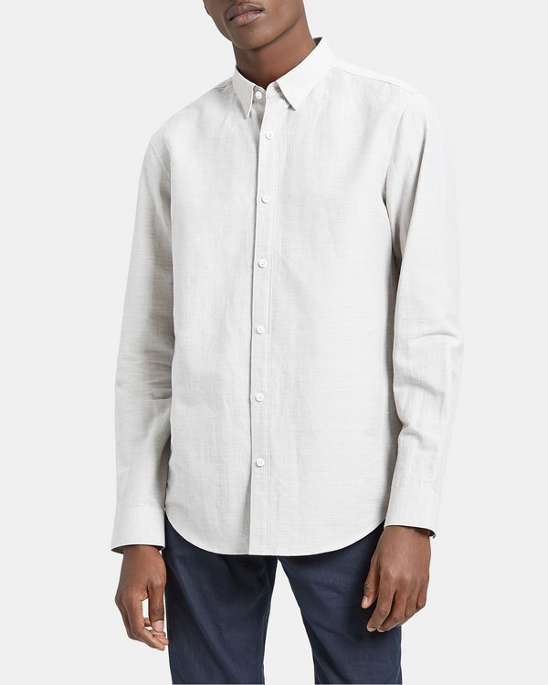 띠어리 Theory Essential Linen Hidden-Button Collar Shirt