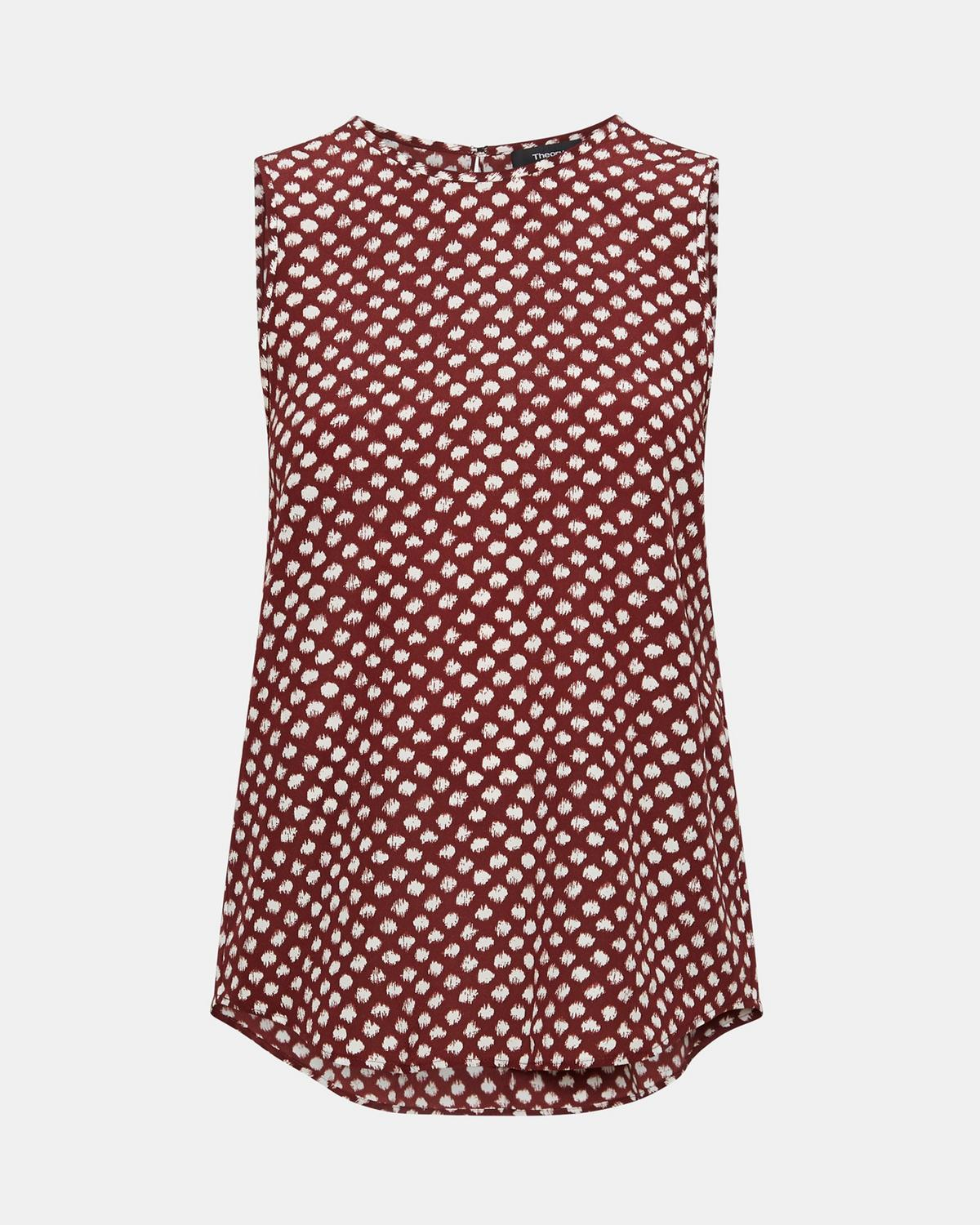 Silk Dot Print Sleeveless Top by Theory