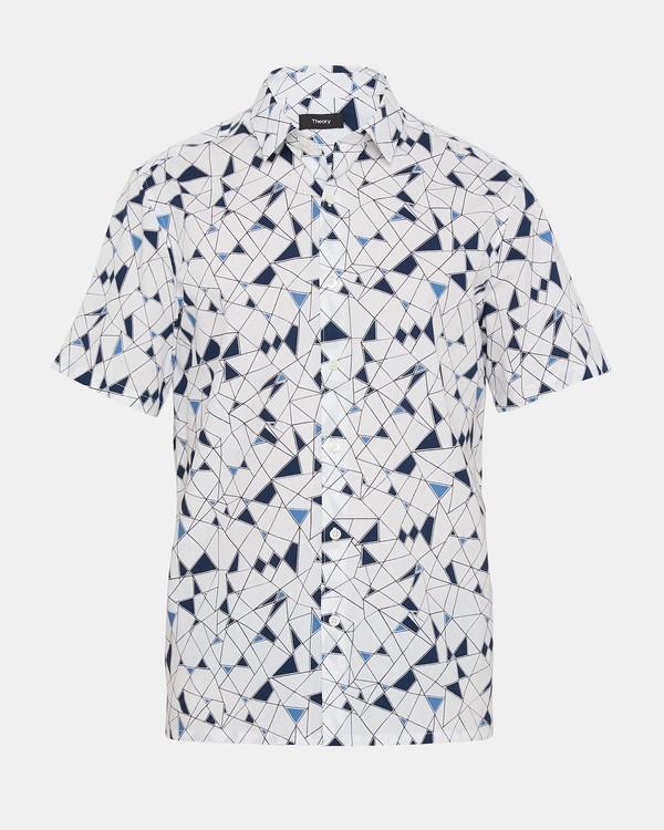 띠어리 Theory Abstract Print Standard-Fit Short-Sleeve Shirt,TIDAL MULTI