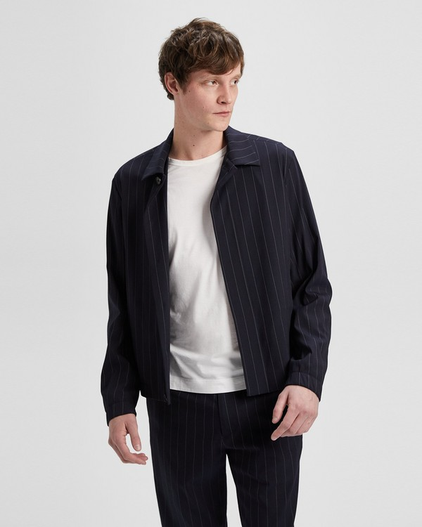 띠어리 자켓  Theory Wool Blend Dashed Pinstripe Blouson Jacket,ECLIPSE STRIPE