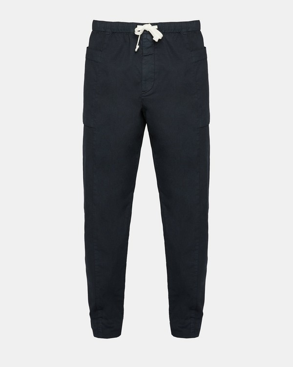 띠어리 Theory Garment-Washed Drawstring Pant,ECLIPSE