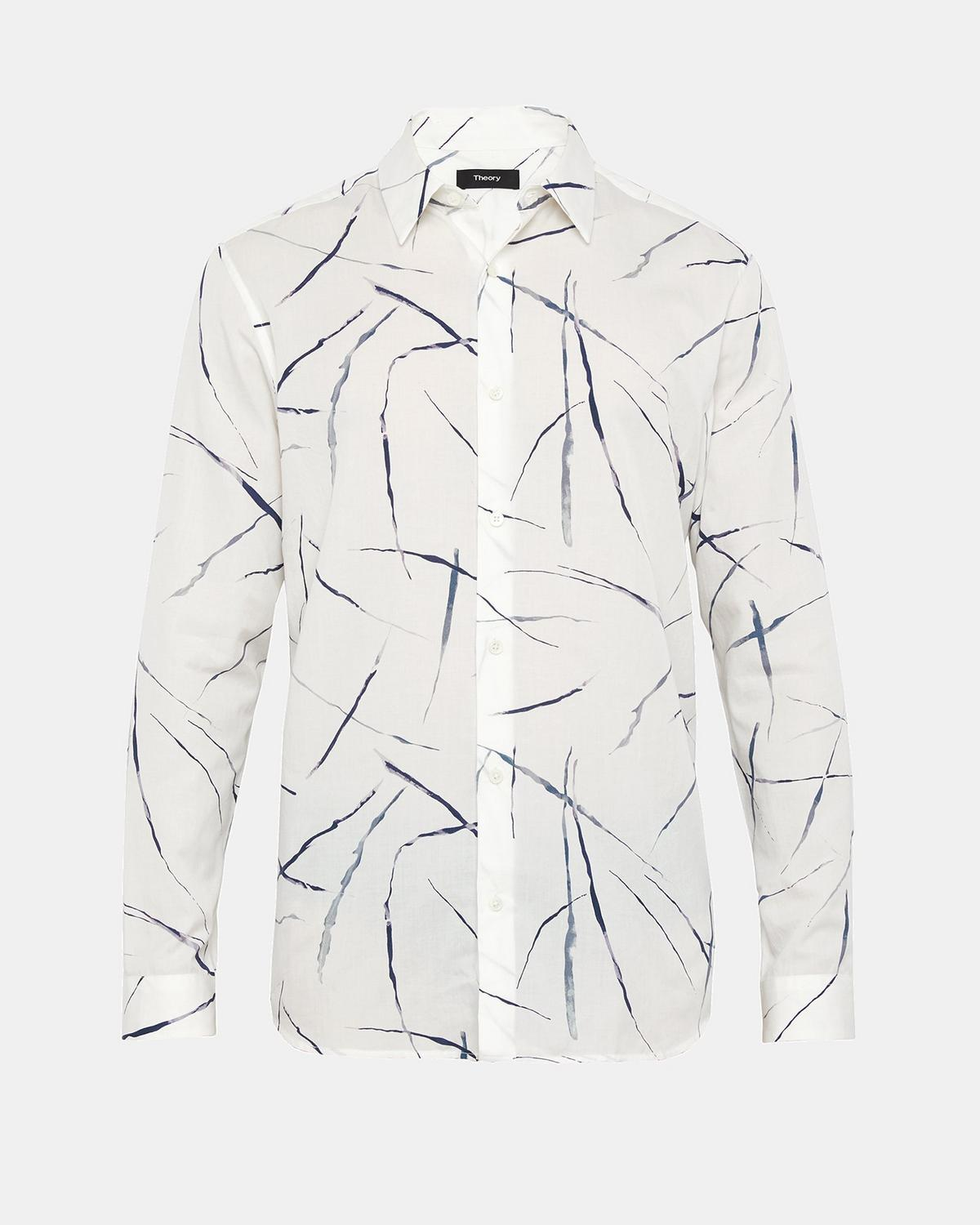 Tencel Cotton Abstract Print Shirt by Theory