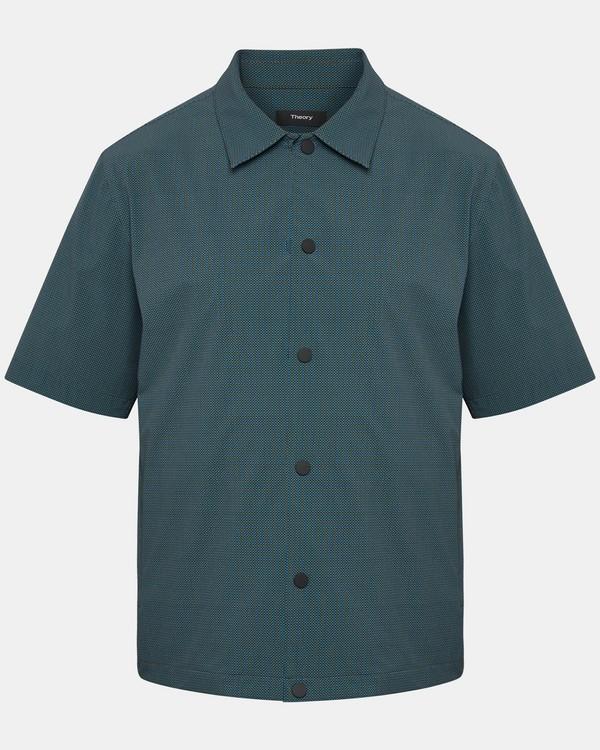 띠어리 Theory Disc-Print Short-Sleeve Shirt Jacket,DARK MOSS MULTI