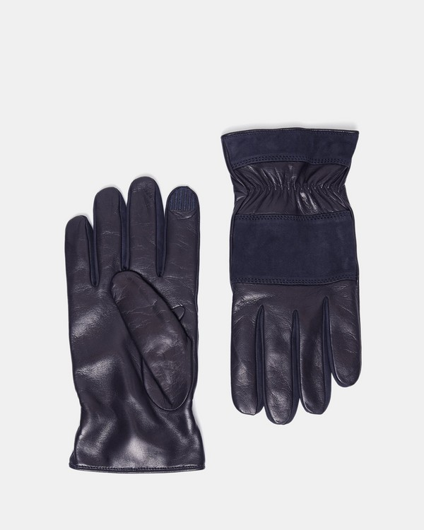 띠어리 Theory Leather Downtown Gloves,NAVY