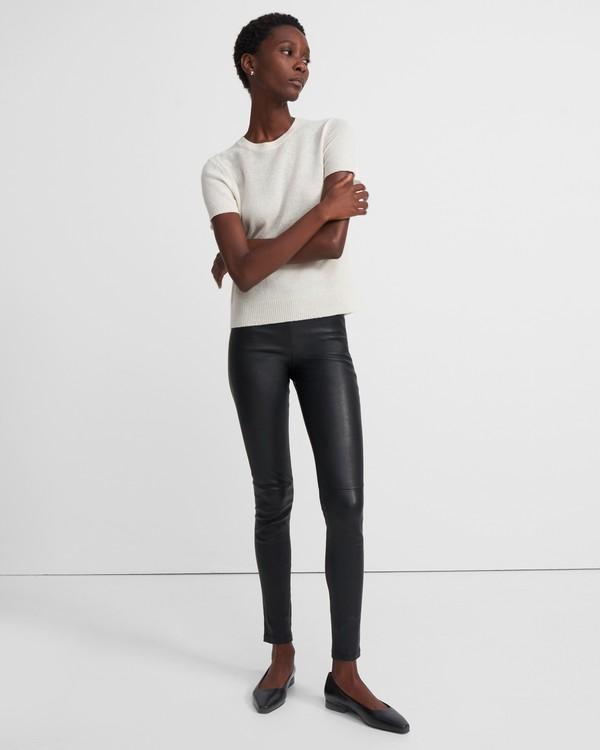 띠어리 레깅스 Theory Leather Pull-On Legging,BLACK