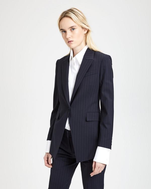 띠어리 굿 울 핀스트라이프 롱 블레이저 Theory Good Wool Pinstripe Long Blazer,DEEP NAVY/GREY