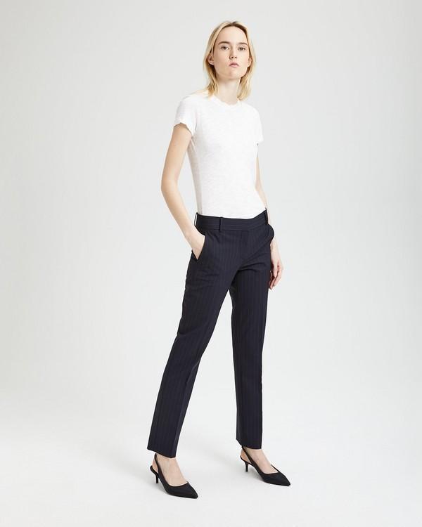 띠어리 울 핀스트라이프 팬츠 딥 네이비/그레이 Theory Good Wool Pinstripe Straight Trouser,DEEP NAVY/GREY