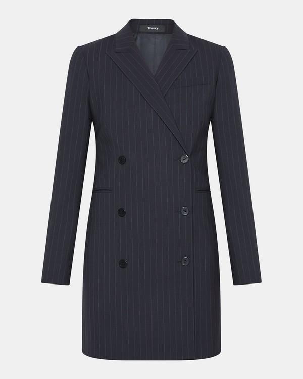 띠어리 굿 울 핀스트라이프 블레이저 원피스 -  딥 네이비/그레이 Theory Good Wool Pinstripe Blazer Dress,DEEP NAVY/GREY