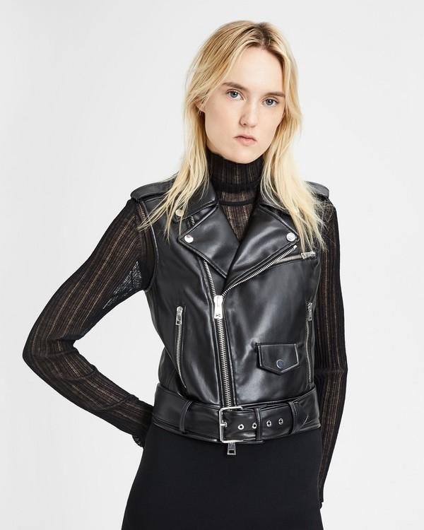 띠어리 페이크 가죽 모토 조끼 Theory Faux Leather Moto Vest,BLACK