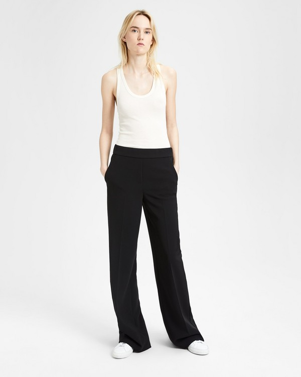 18 F/W 띠어리 탈버트 와이드-레그 팬츠 블랙 Theory Talbert Wide-Leg Pant, BLACK