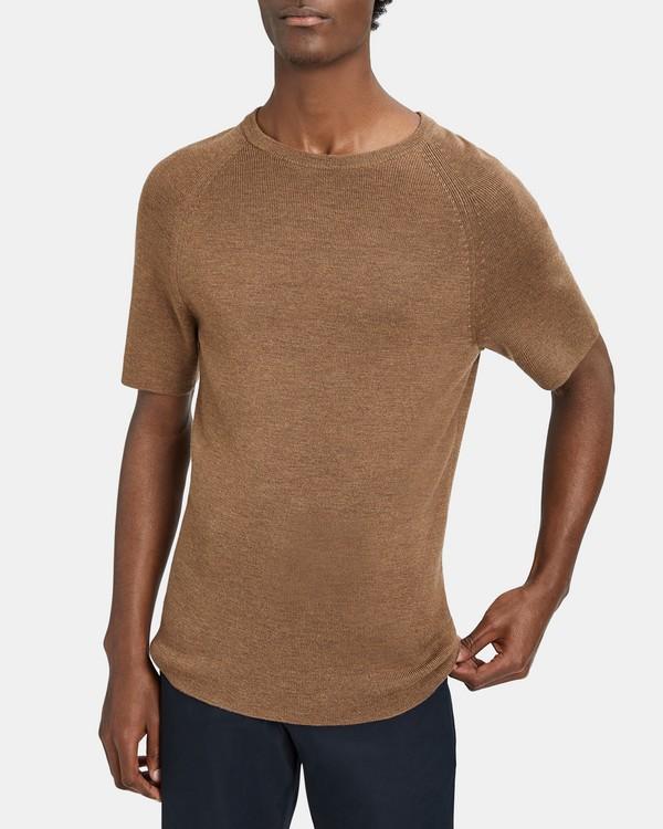 띠어리 메리노 스웨터 Theory Merino Raglan Short-Sleeve Sweater,SANDSTORM