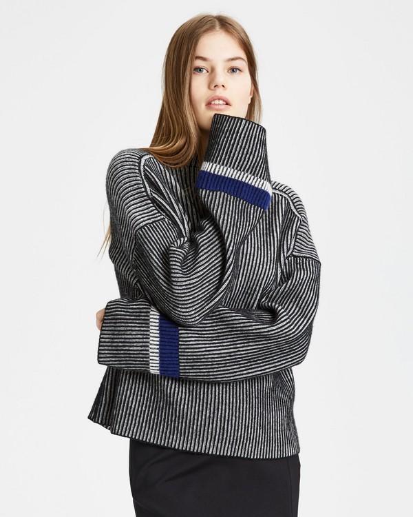 띠어리 스트라이프 크루넥 스웨터: 블랙 믹스 Theory Stripe Mix Crewneck Sweater,BLACK MIX
