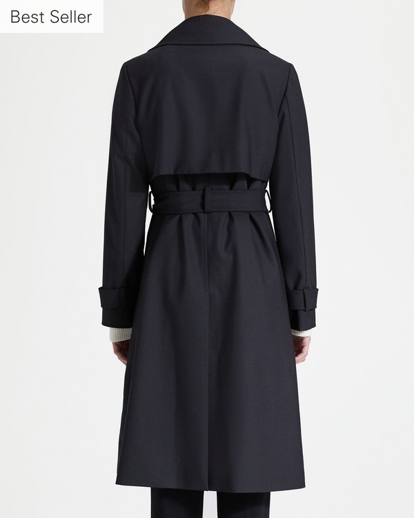 띠어리 Theory Wide Lapel Trench Coat,BLACK