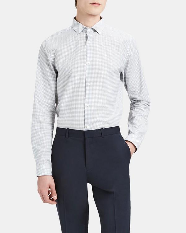 띠어리 드레스 셔츠 Theory Cotton Check Slim-Fit Shirt With Spread Collar