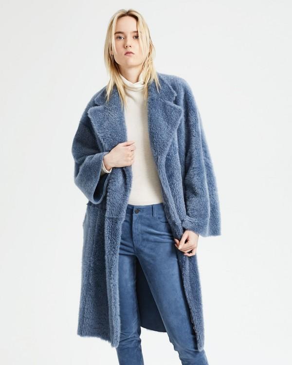 띠어리 로브 롱 코트 메탈 블루 Theory Shearling Robe Coat,METAL BLUE