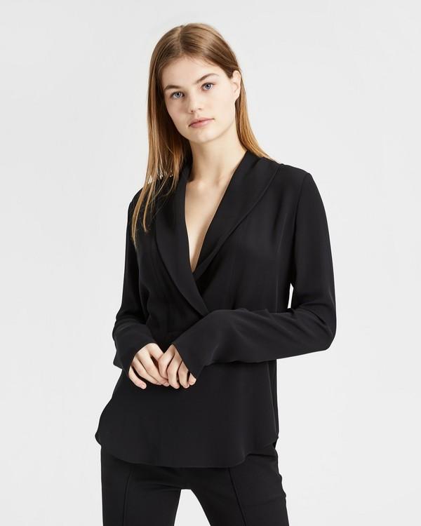 띠어리 실크 긴팔 티셔츠 블랙 Theory Silk Shawl Collar Long-Sleeve Top,BLACK