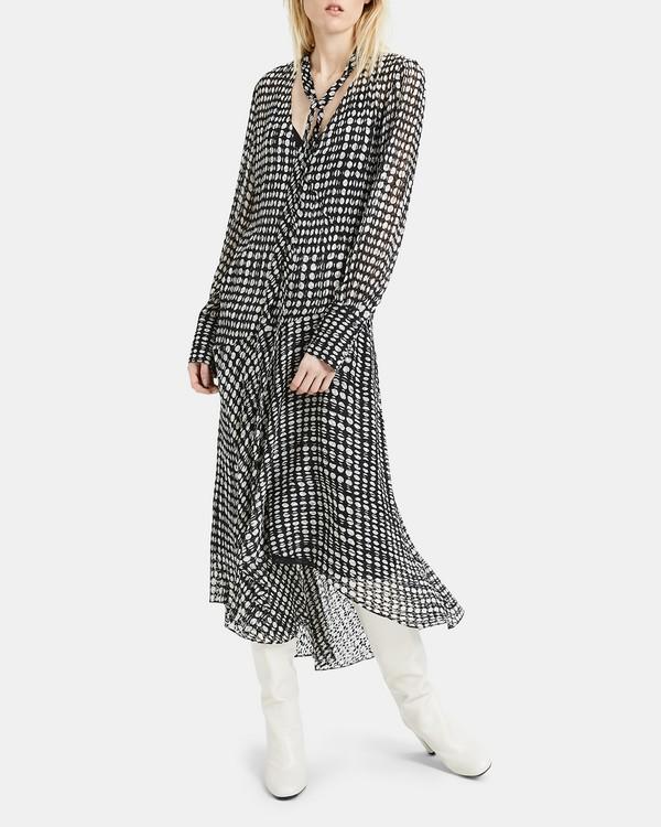띠어리 스카프 원피스 블랙 Theory Oval Print Scarf Wrap Dress,BLACK MULTI