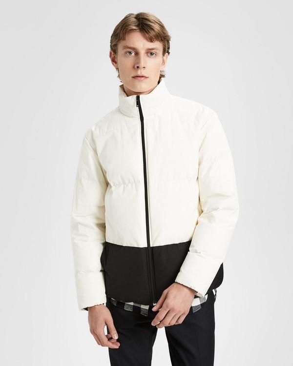 띠어리 맨 컬러블록 근육 패딩 - 화이트 Theory Color-Blocked Puffer Jacket,WHITE