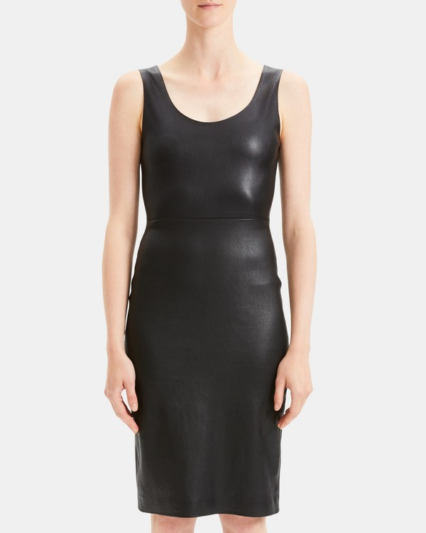 띠어리 Theory Leather Fitted Midi Dress,BLACK