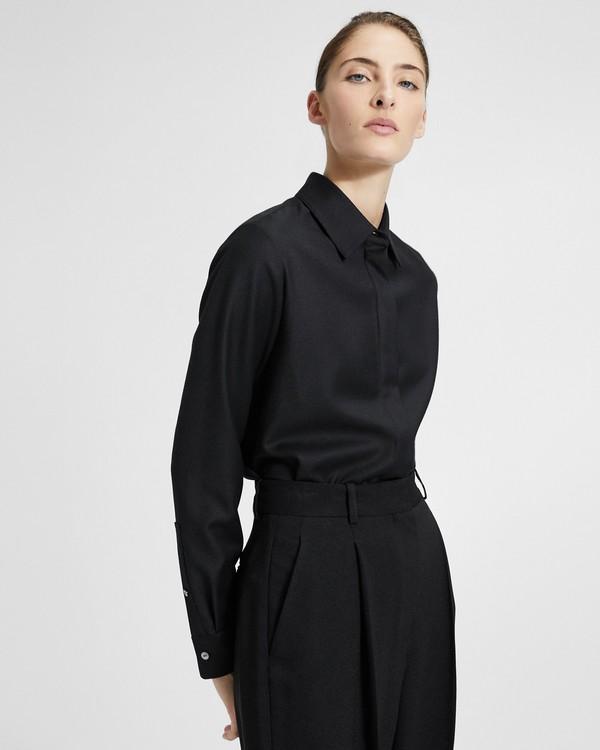 띠어리 Theory Sleek Flannel Classic Straight Shirt,SEA SALT