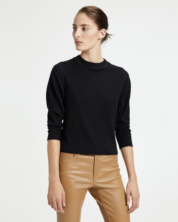 띠어리 크루넥 Theory Elongated Crewneck Top,BLACK