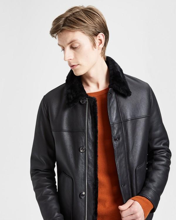 띠어리 Theory Shearling Jacket,BLACK/BLACK