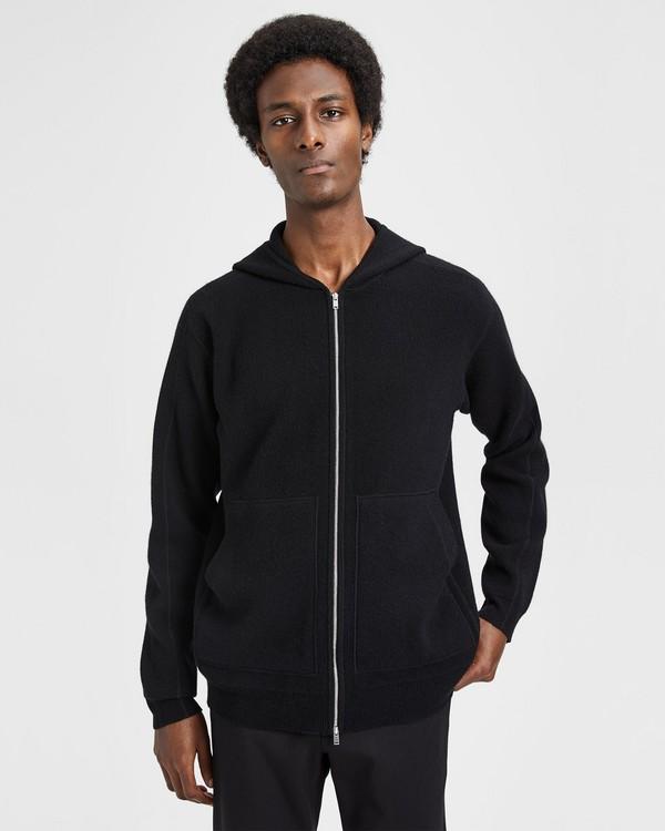 띠어리 캐시미어 스웨터 Theory Cashmere Hooded Zip Sweater,BLACK