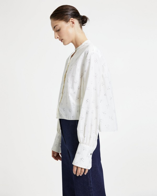 띠어리 Theory Speckled Cropped Easy Shirt,IVORY MULTI