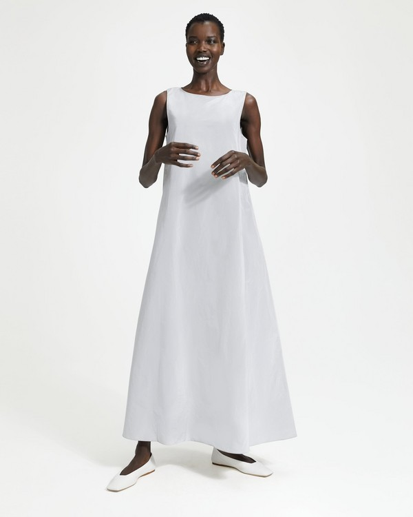 띠어리 Theory A-Line Sleeveless Maxi Dress,SILVER ICE