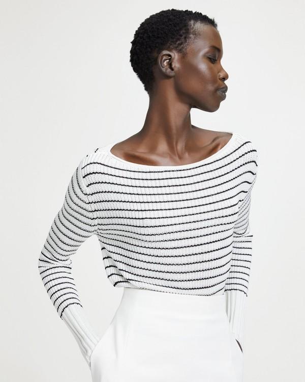 띠어리 Theory Striped Viscose Boatneck Sweater,IVORY/BLACK