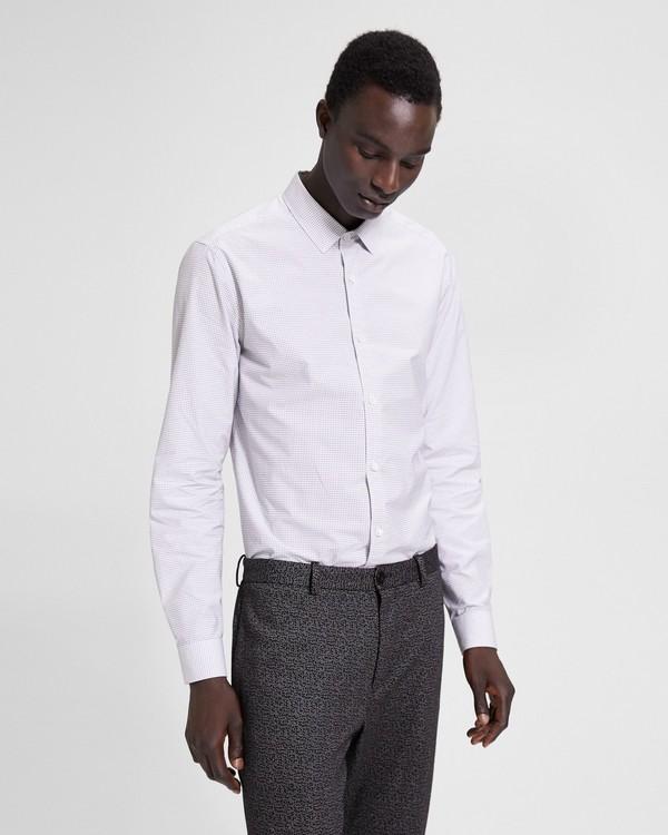 띠어리 맨 그리드 프린트 스탠다드핏 셔츠 - 화이트 멀티 Theory Grid Print Standard-Fit Shirt,WHITE MULTI