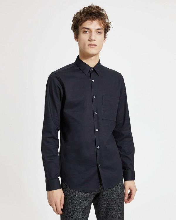 띠어리 맨 브러쉬드 코튼 스탠다드핏 셔츠 - 블랙 Theory Brushed Cotton Standard-Fit Shirt,BLACK