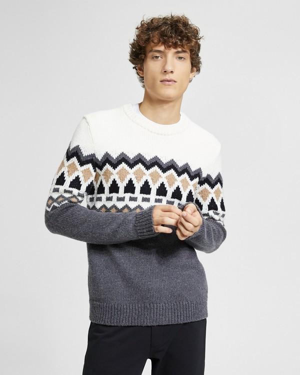 띠어리 Theory Wool Fair Isle Sweater,IVORY MULTI