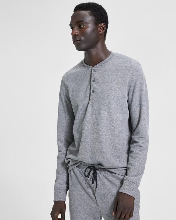 띠어리 맨 클래식 헨리 셔츠 Theory Classic Henley Shirt,BLACK/WHITE