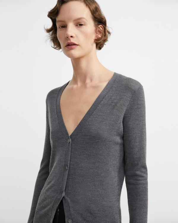 띠어리 실큰 니트 브이넥 가디건 - 차콜 Theory Silken Knit V-Neck Cardigan,CHARCOAL