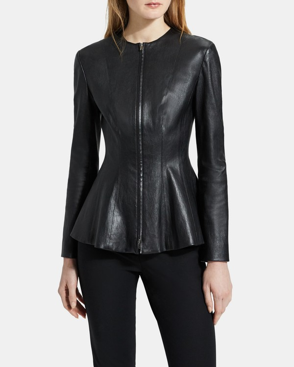 띠어리 Theory Leather Movement Jacket,BLACK