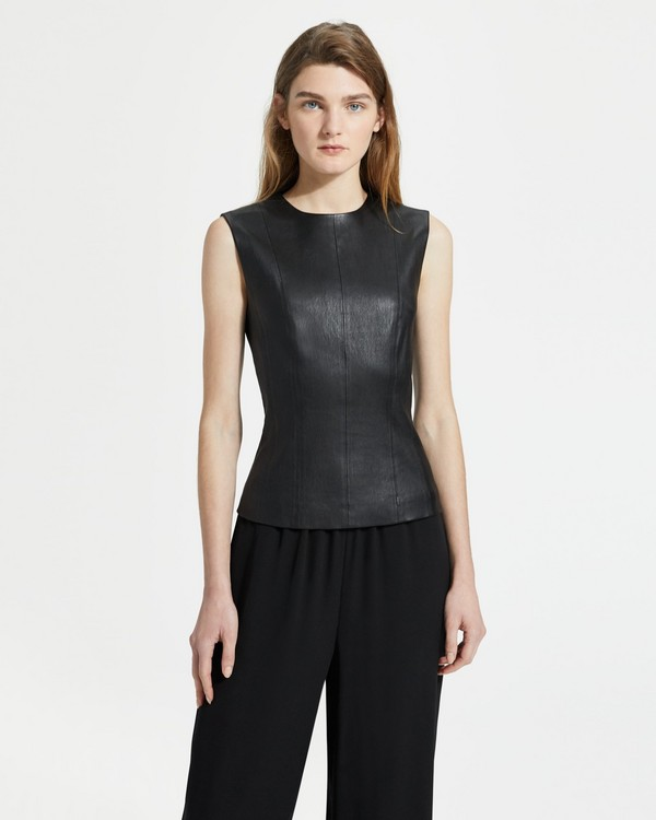 띠어리 Theory Leather Fitted Shell,BLACK