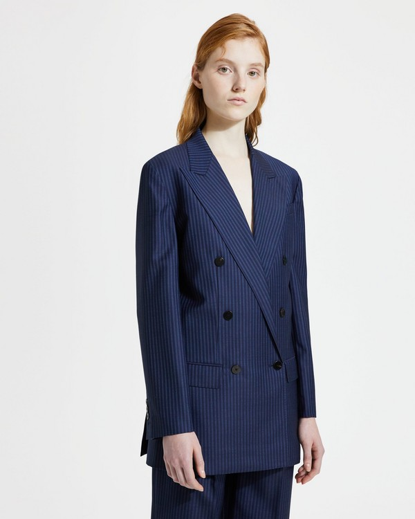띠어리 Theory Straight Double-Breasted Jacket,NAVY SAPPHIRE STRIPE