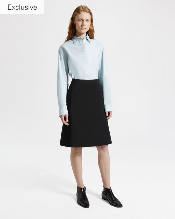 띠어리 Theory Double Stretch Cotton Easy Midi Skirt,BLACK