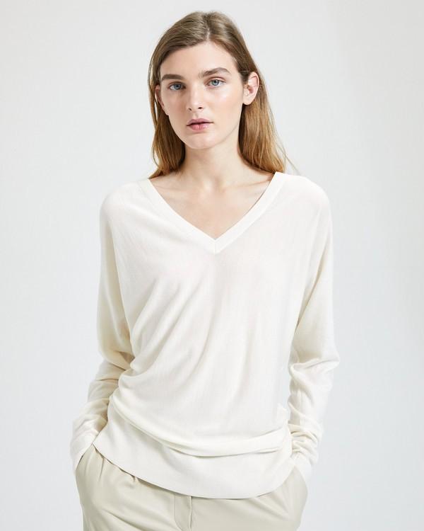 띠어리 Theory Deep V Dolman-Sleeve Sweater,IVORY