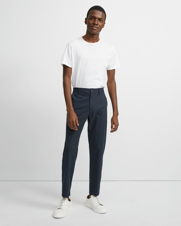 띠어리 Theory Striped Cotton-Linen Curtis Pant,ECLIPSE STRIPE