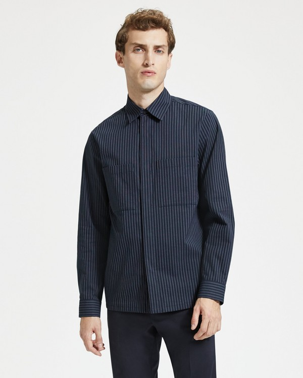 띠어리 Theory Cotton-Linen Striped Shirt Jacket,ECLIPSE STRIPE