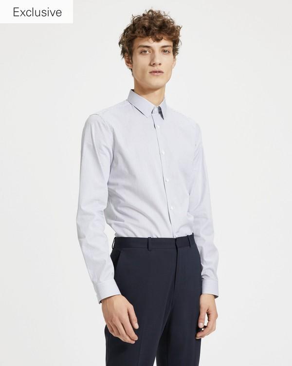 띠어리 맨 테크 스트라이프 세드릭 셔츠 - 블랙 스트라이프 Theory Tech Stripe Cedrick Shirt,BLACK STRIPE