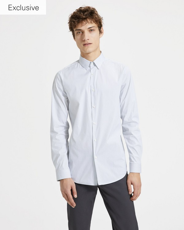 띠어리 맨 웰스 코튼 핀스트라이프 실뱅 셔츠 Theory Wealth Cotton Pinstripe Sylvain Shirt